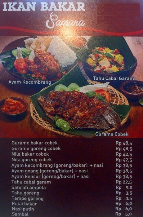 ikan bakar samara menu menu for ikan bakar samara bogor utara rh zomato com
