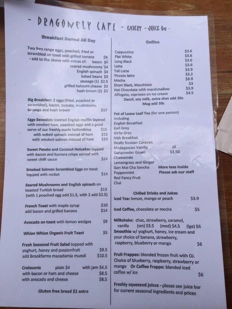 Dragonfly Restaurant Menu