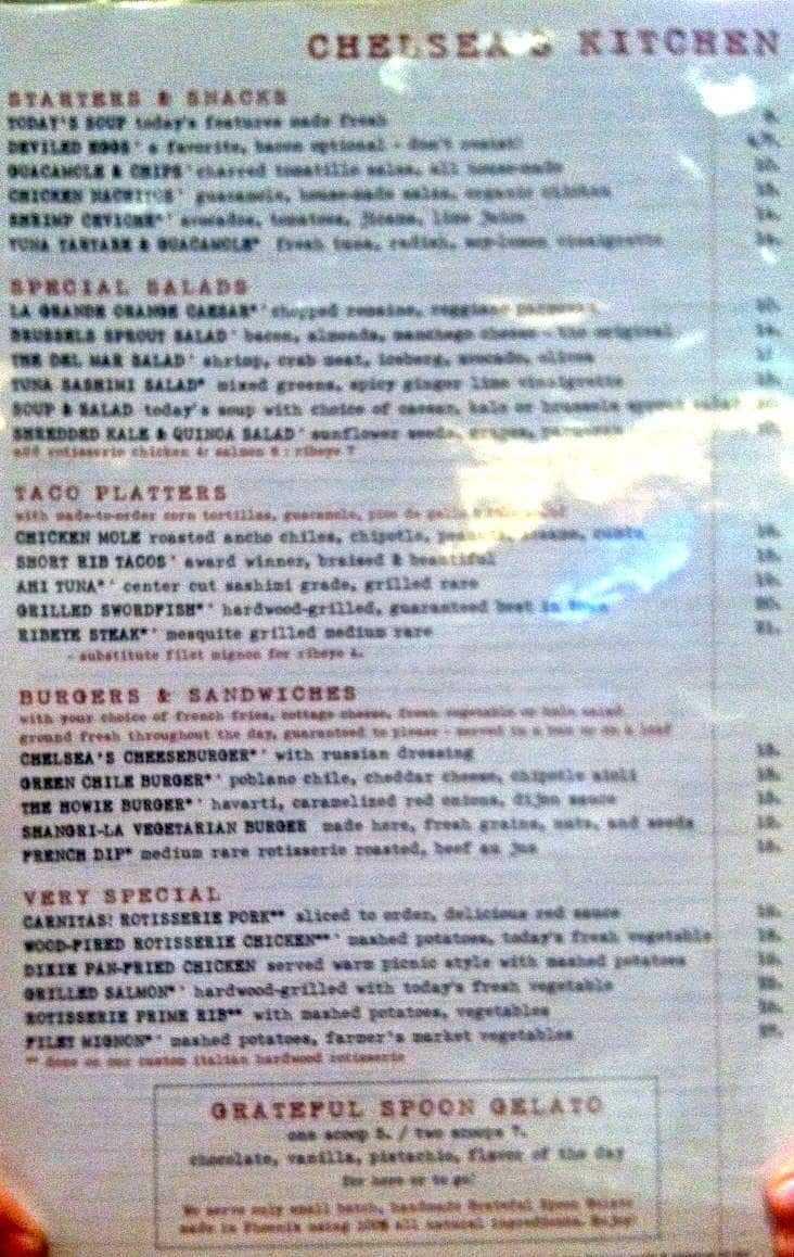 chelseas kitchen menu menu for chelseas kitchen