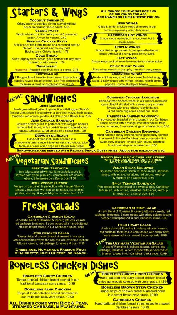 Reggae shack cafe gainesville menu