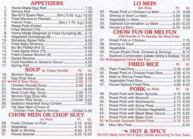 Panda House panda house menu, menu for panda house, washington heights, new