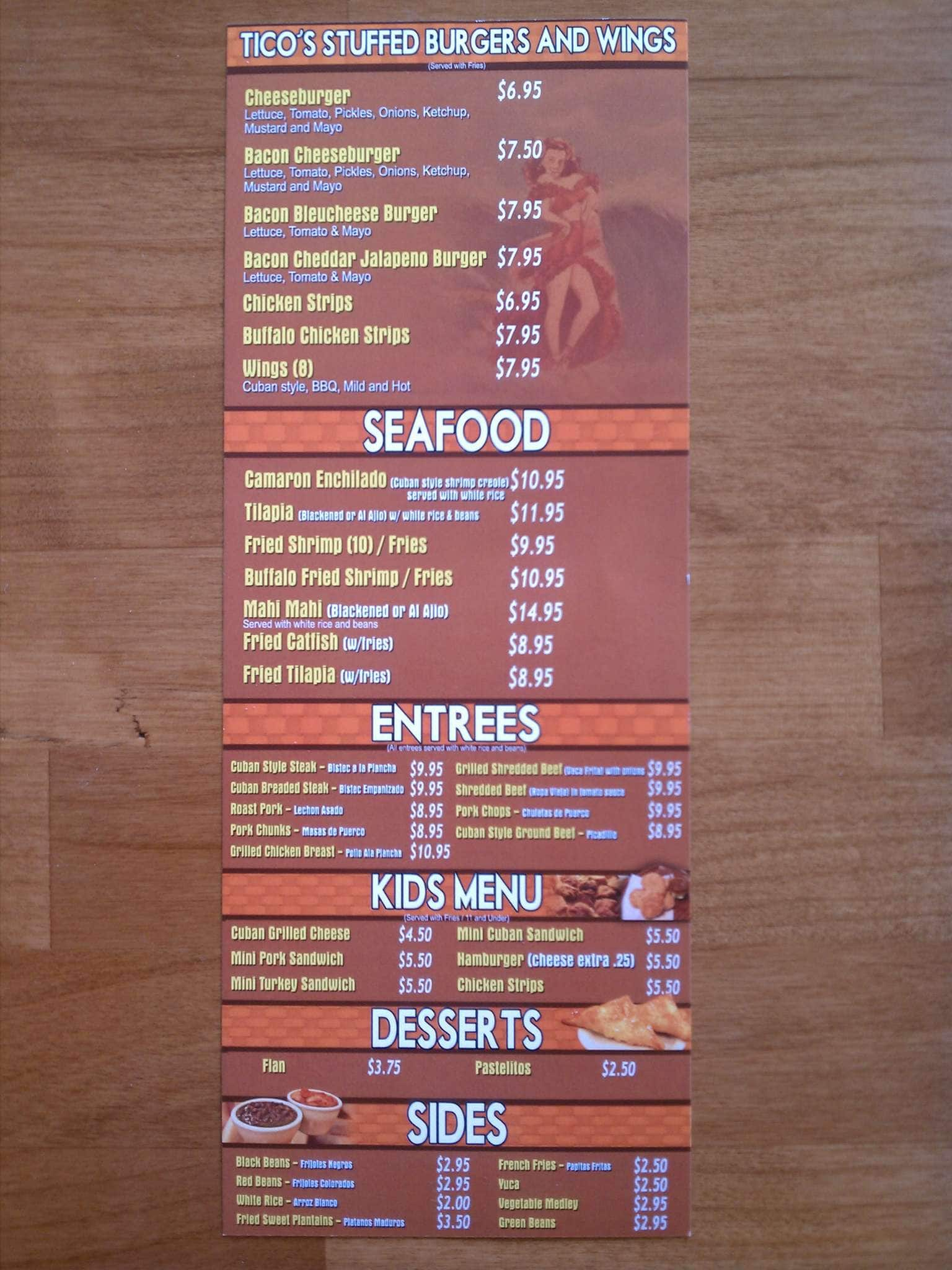 scanned menu for ticos cuban cafe