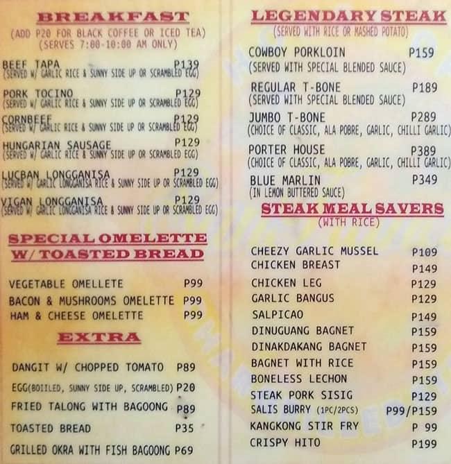San Francisco Steak House Menu Zomato Philippines
