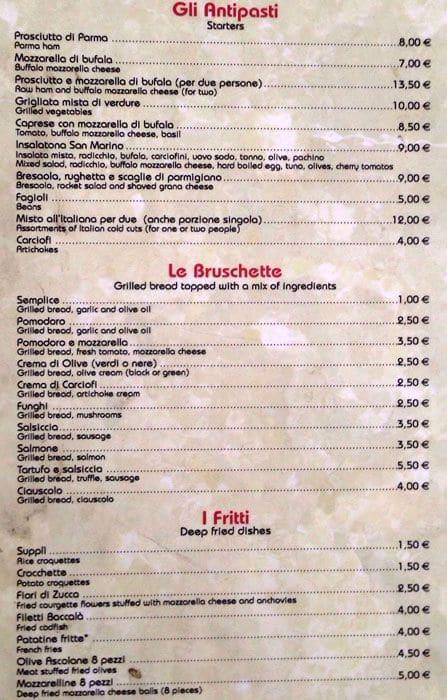Pizzeria San Marino a Roma: Foto del Menu con Prezzi - Zomato Italia