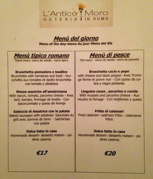 L 39 antico moro a roma foto del menu con prezzi zomato italia for Cibo tipico romano