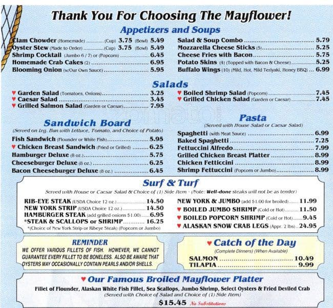 Mayflower Seafood Menu, Menu for Mayflower Seafood, Concord