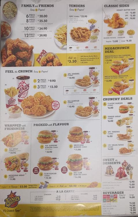 Texas Chicken Menu Menu For Texas Chicken Manukau Auckland