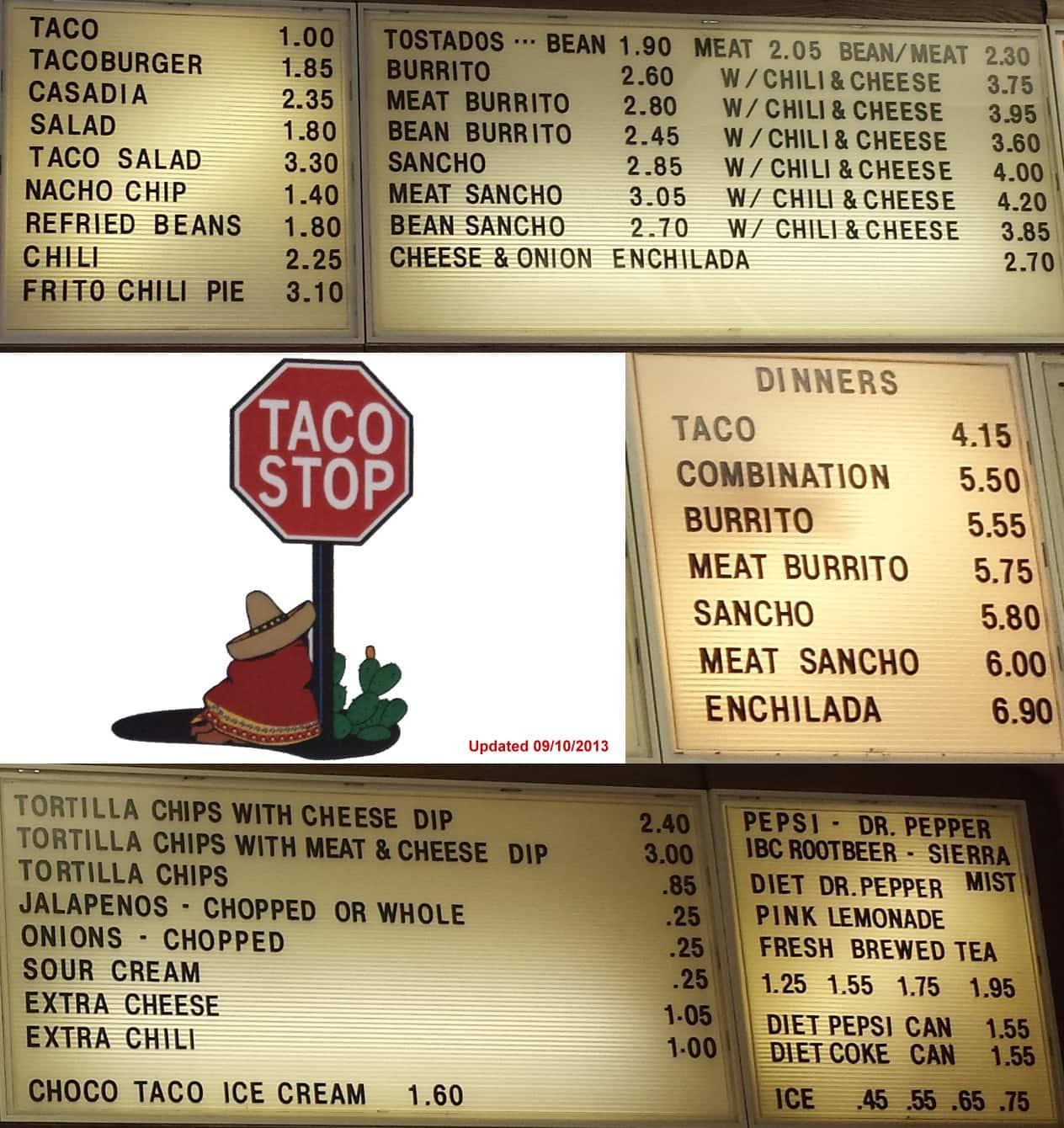 Taco Stop Ponca City Menu