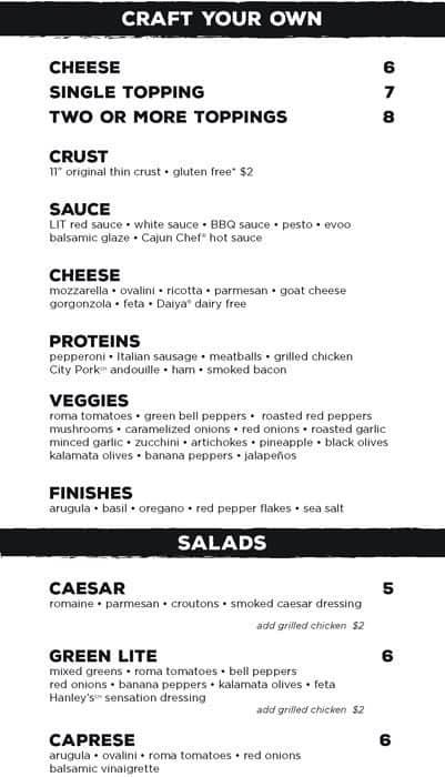 lit pizza menu menu for lit pizza lsu area baton rouge