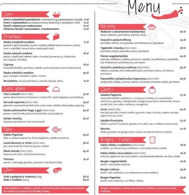 Peperino Menu Menu For Peperino Brzeźno Gdańsk