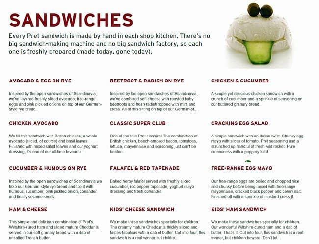 menu at pret a manger restaurant london 1 whitehall. Black Bedroom Furniture Sets. Home Design Ideas