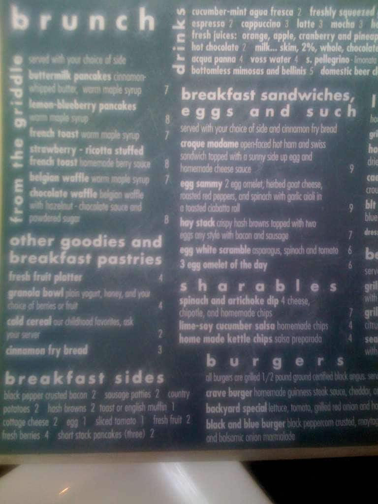 crave kitchen & bar menu, menu for crave kitchen & bar, university