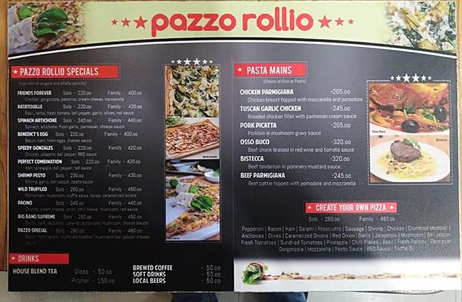 Unike Pazzo Rollio Menu, Menu for Pazzo Rollio, Ugong, Pasig City TN-63