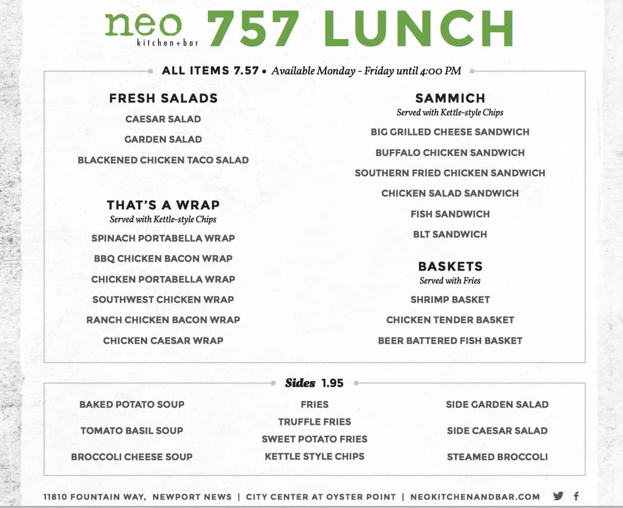 neo kitchen + bar menu, menu for neo kitchen + bar, newport news