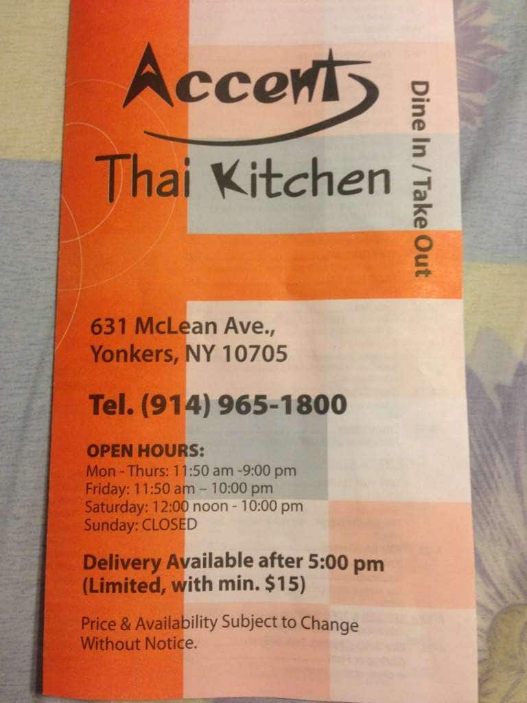 Accent Thai Kitchen Yonkers