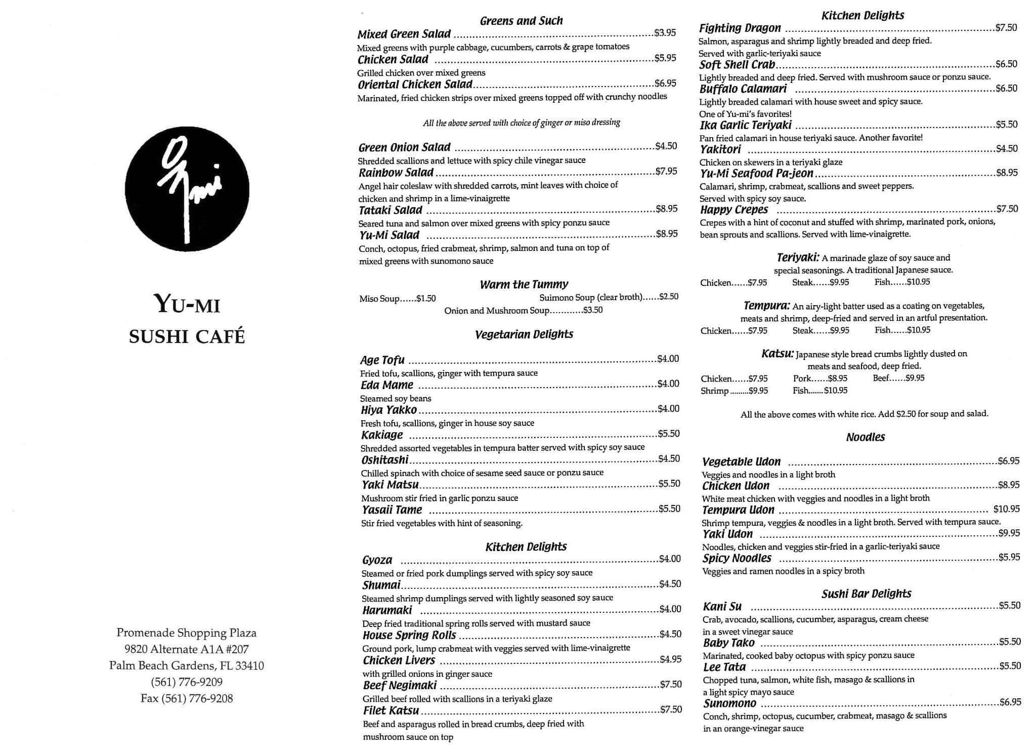 Yu Mi Sushi Japanese Menu Menu for Yu Mi Sushi Japanese Palm