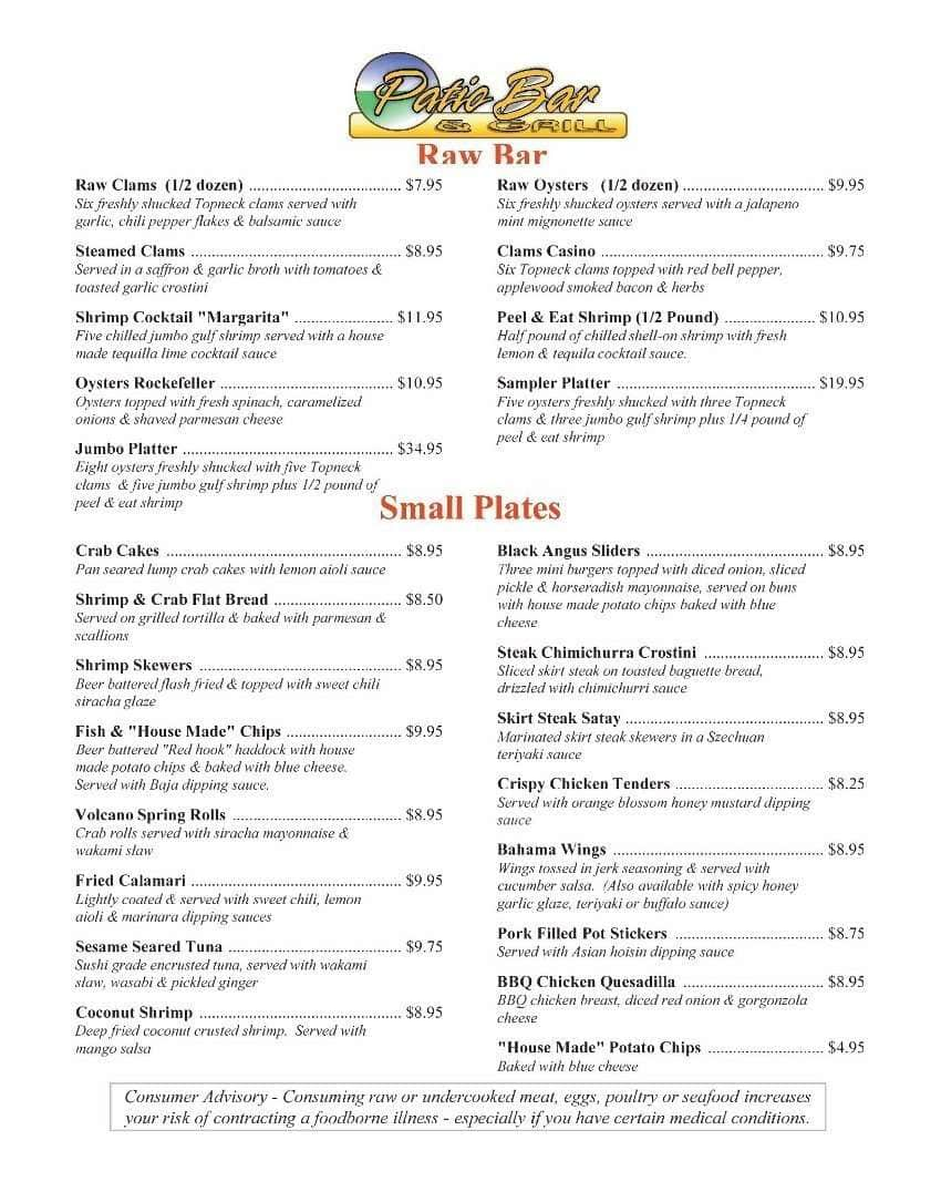 Patio Bar U0026 Grill, Deerfield Beach Menu
