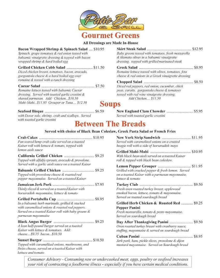 Scanned Menu For Patio Bar U0026amp; ...