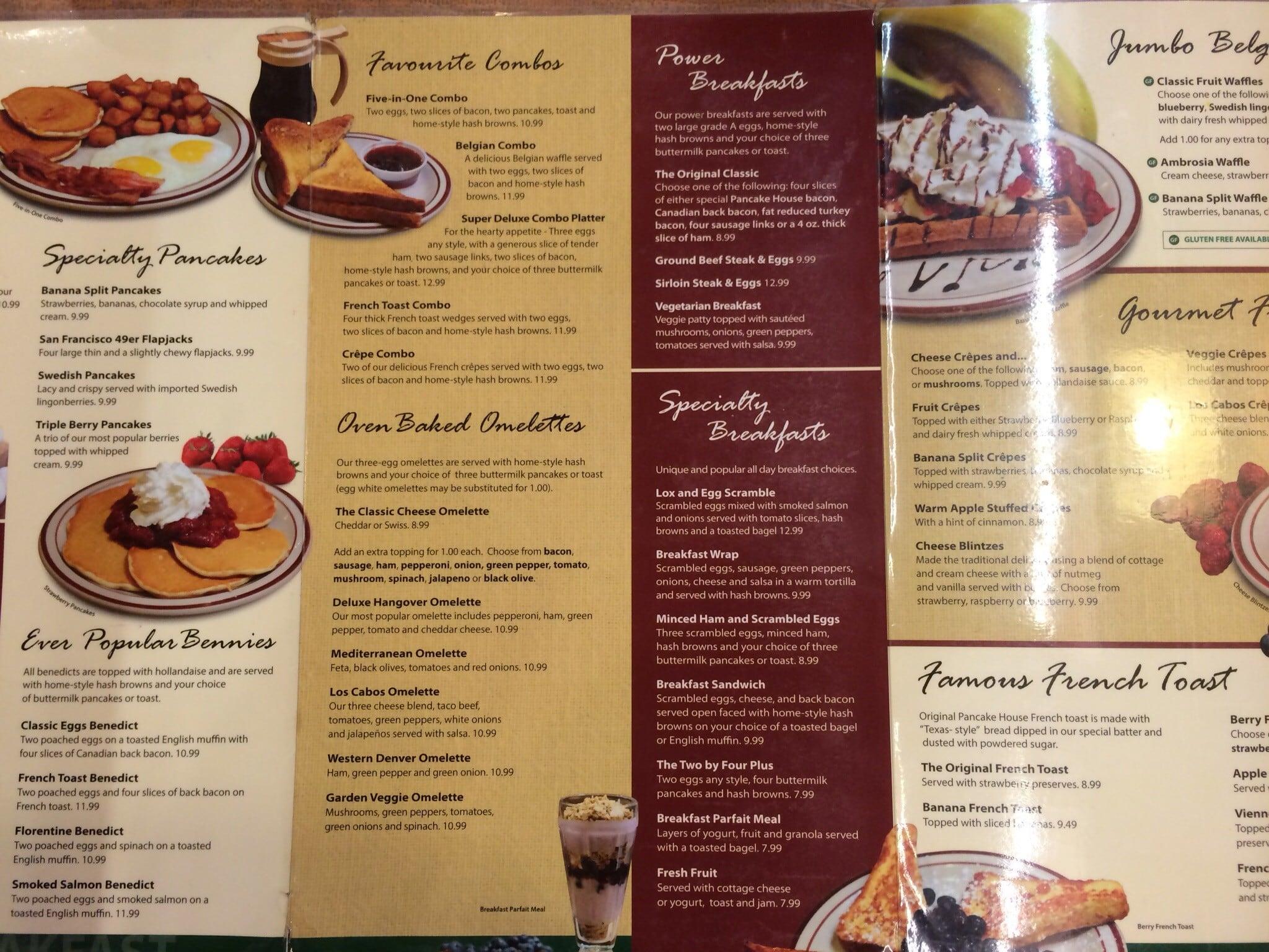 Menu at Original Pancake House restaurant Winnipeg Portage Ave