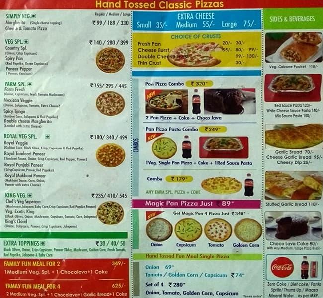 Da Pizza Palace Menu Menu For Da Pizza Palace Shalimar