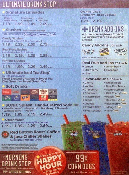 Sonic Menu Menu For Sonic Brighton Denver Urbanspoon