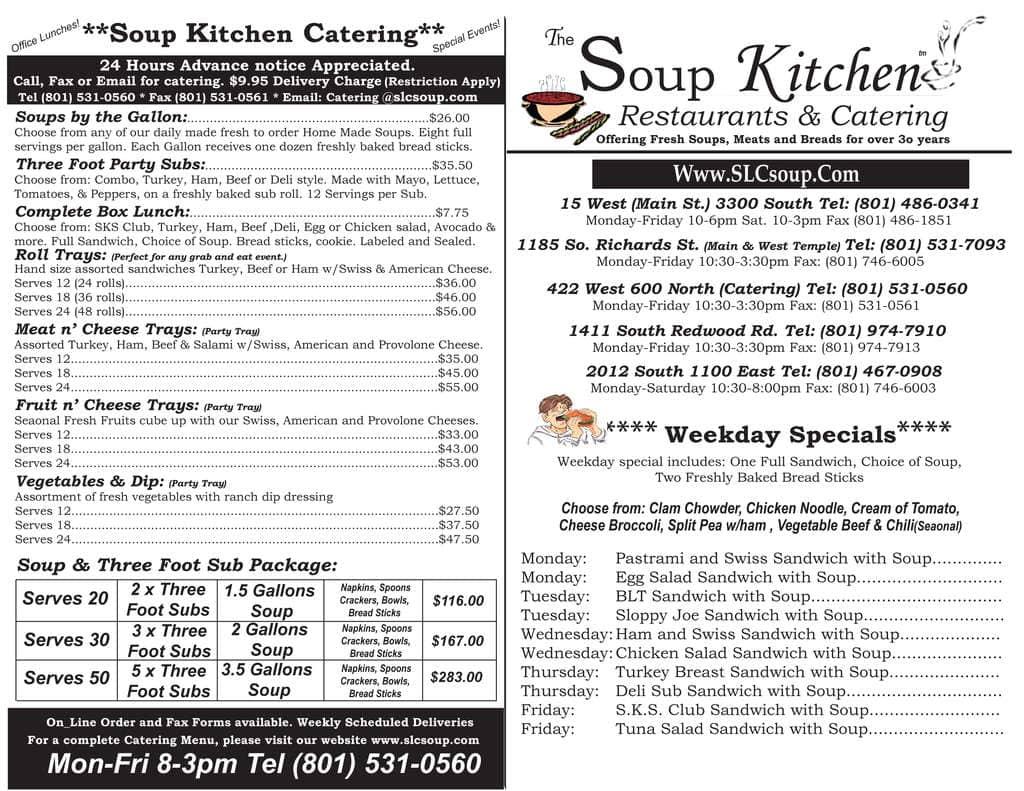 Soup Kitchen Slc Menu
