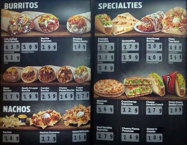 Taco Bell Food Menu Items