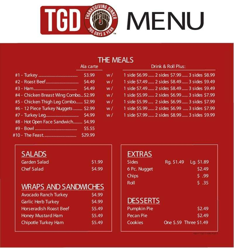 Tgd thanksgiving dinner great american food menu for American cuisine menu
