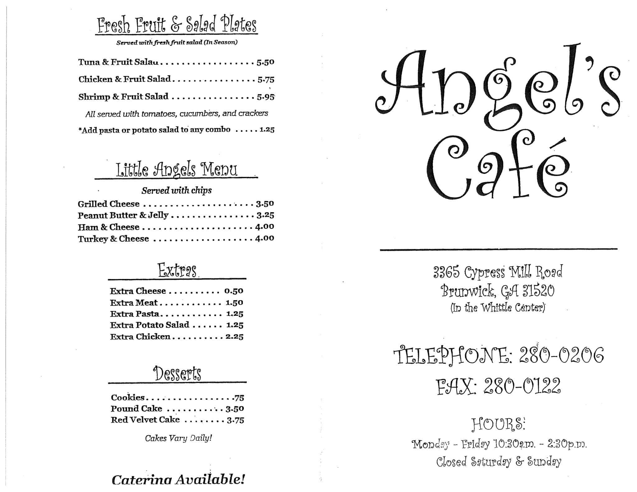 Angels Cafe Menu Brunswick Ga