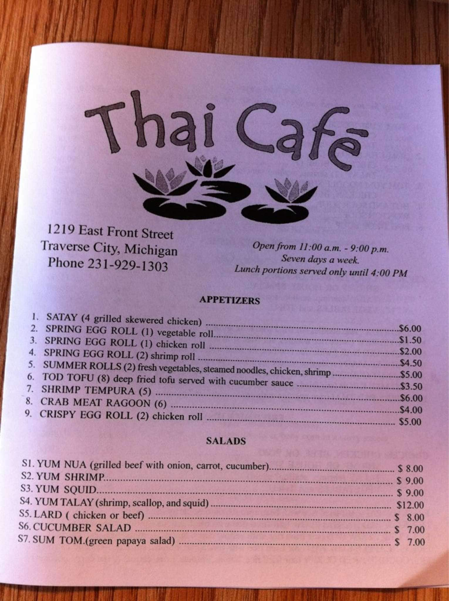Thai Kitchen Traverse City Michigan Menu