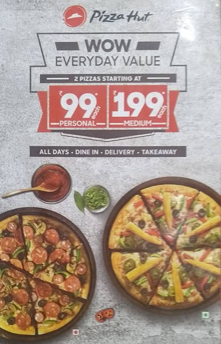 Scanned menu for Pizza Hut