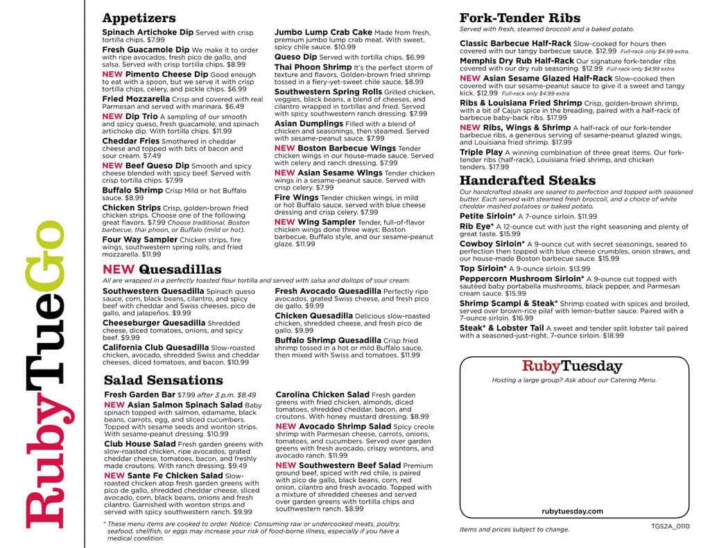 photo relating to Ruby Tuesday Printable Menu referred to as ruby tuesday catering menu -