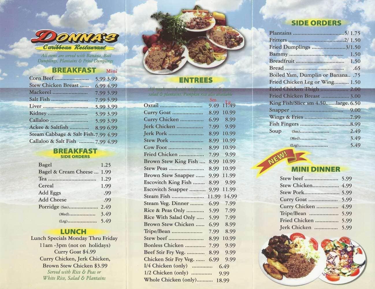 Donna S Jamaican Restaurant Menu