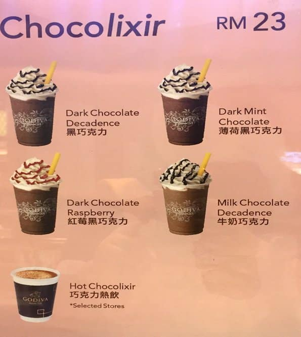 Godiva Chocolate Drink Menu