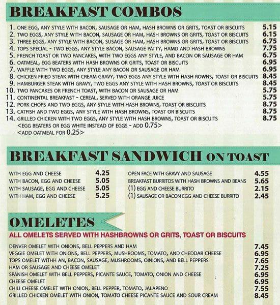Tops Cafe Dallas Menu