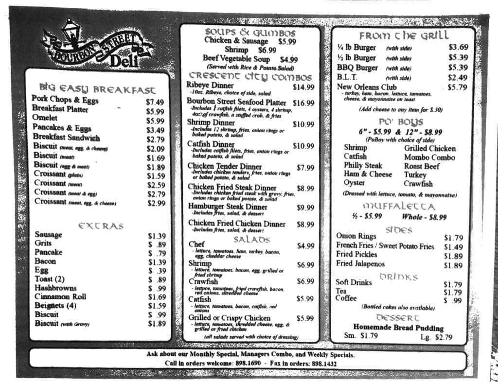 Bourbon Street Cafe Menu Abbeville La