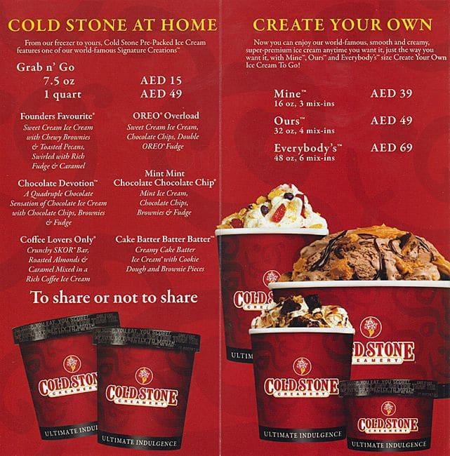 Cold Stone Ice Cream Cake Menu