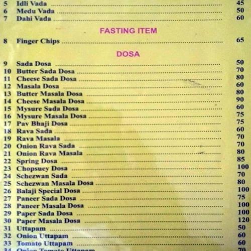 Balaji Fast Food Menu, Menu for Balaji Fast Food, Nerul