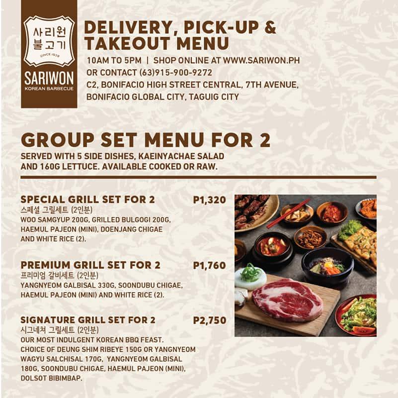 Sariwon Menu Menu Untuk Sariwon Bonifacio Global City Taguig City