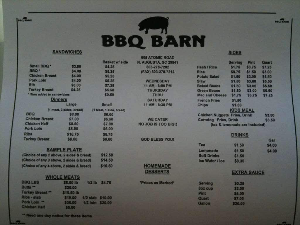 BBQ Barn Menu, Menu for BBQ Barn, North Augusta, North ...