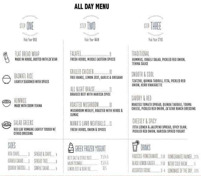 Spread Mediterranean Kitchen Menu