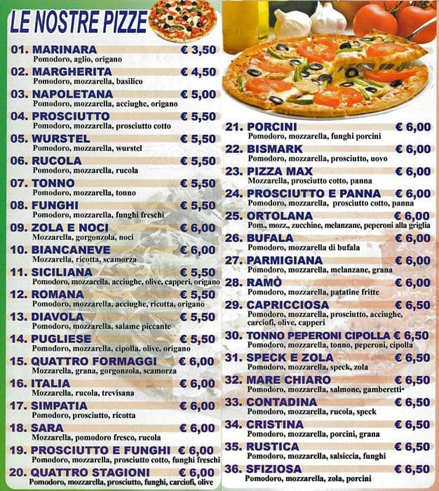 Pizza Amici Menu Menu For Pizza Amici Repubblica Milano