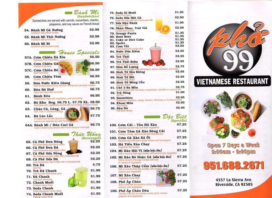 Pho 99 Vietnamese Restaurant Menu