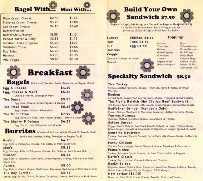 graphic regarding Moes Printable Menu identified as Moes Broadway Bagel Menu - Urbanspoon/Zomato