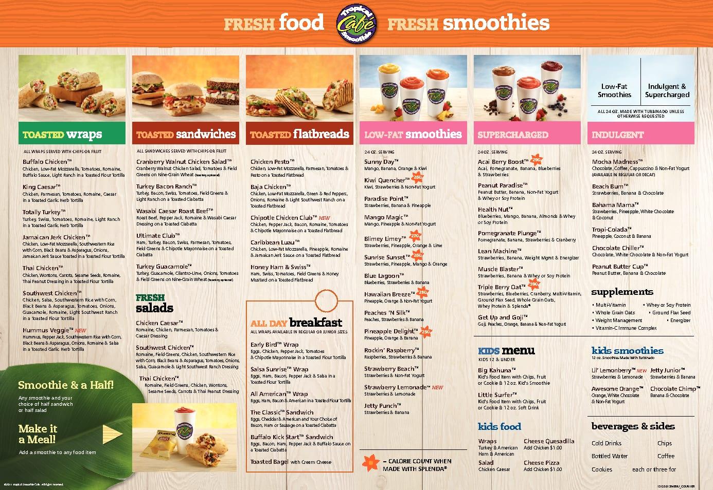 Tropical Smoothie Cafe Ankeny Menu