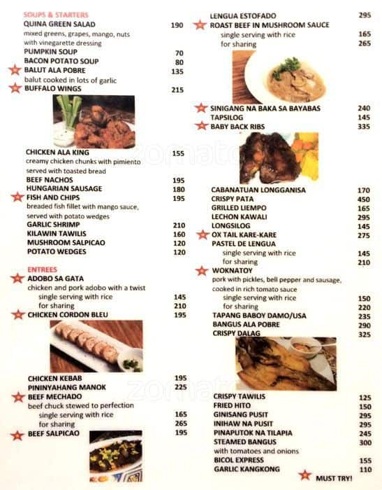 Quina Pastry Shop and Restaurant Menu - Zomato Philippines