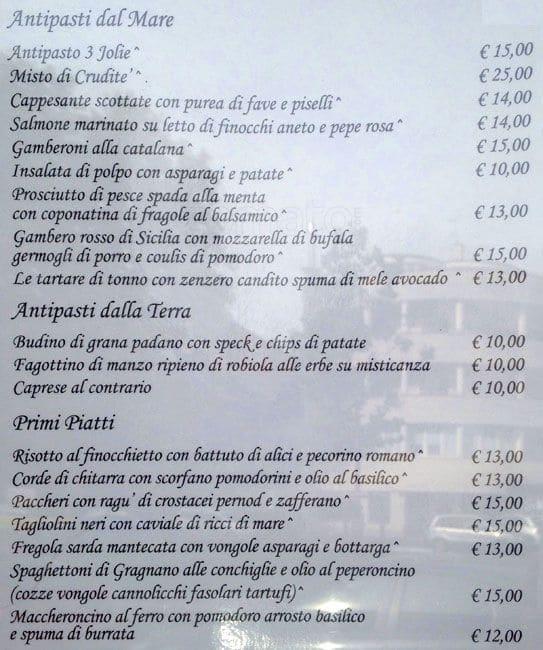 3JOLIE a Milano: Foto del Menu con Prezzi - Zomato Italia