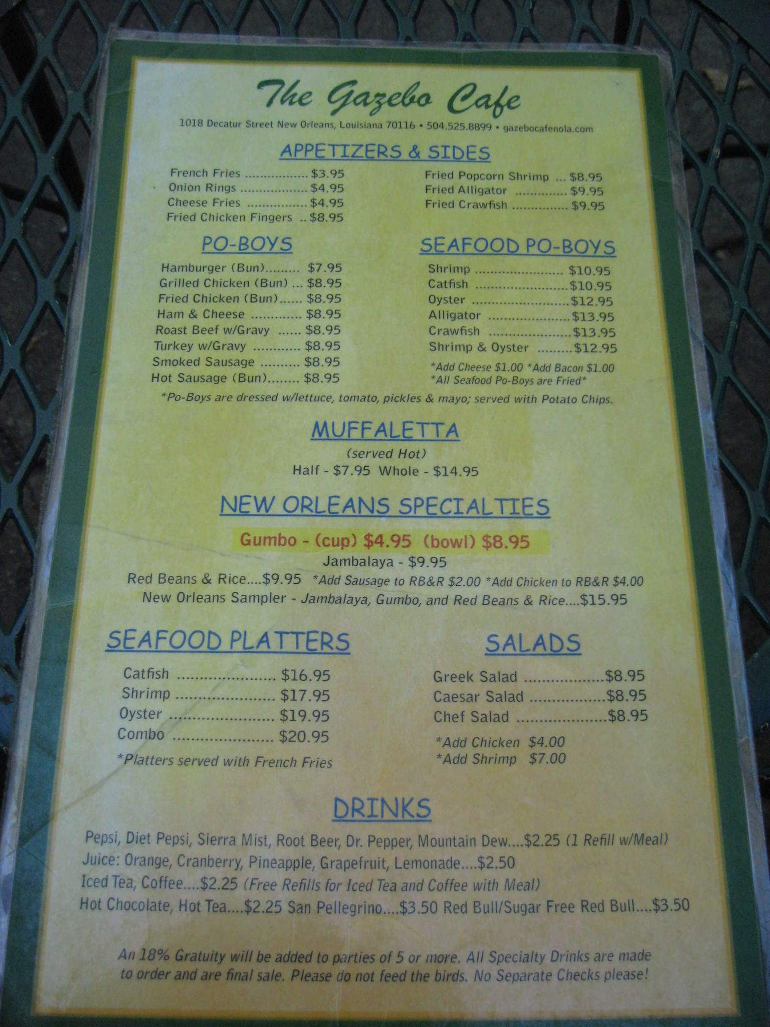 Gazebo Cafe French Quarter Menu