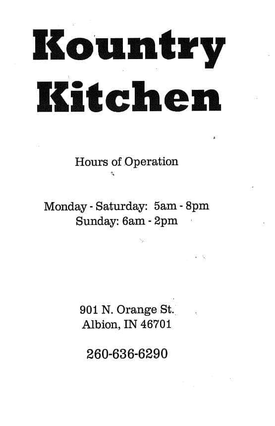 Kountry Kitchen Menu, Menu for Kountry Kitchen, Albion, Fort ...