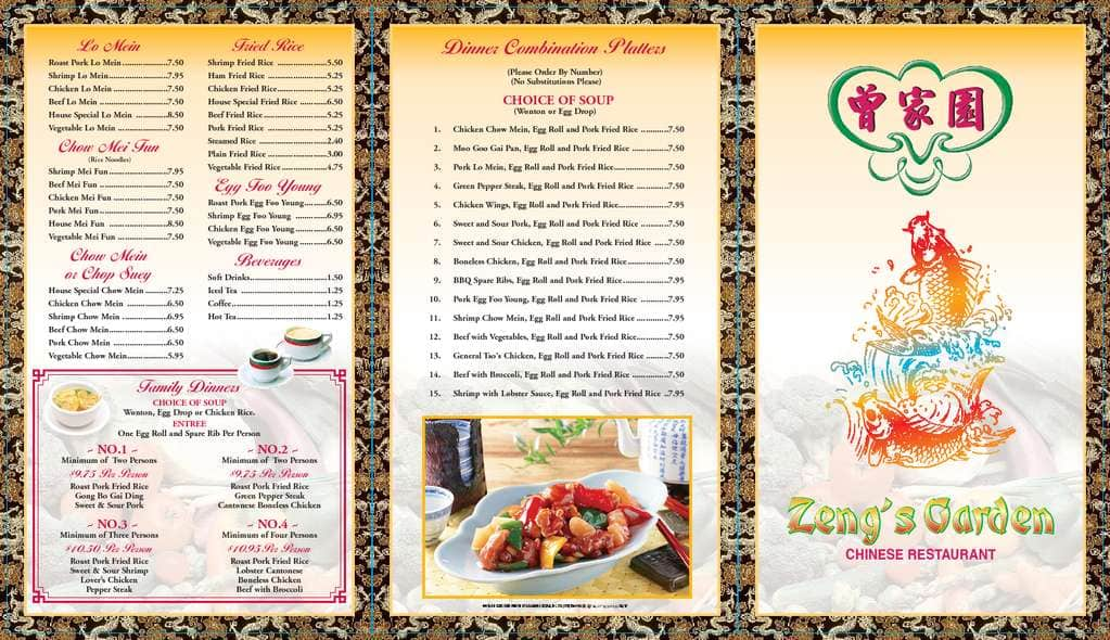 Zengs Garden Chinese Restaurant Menu Urbanspoonzomato